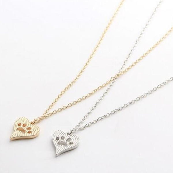 DOG PAW 18K GOLD SILVER Hollow Heart Pendant Necklace Fashion Jewellery - 1000 Things Australia