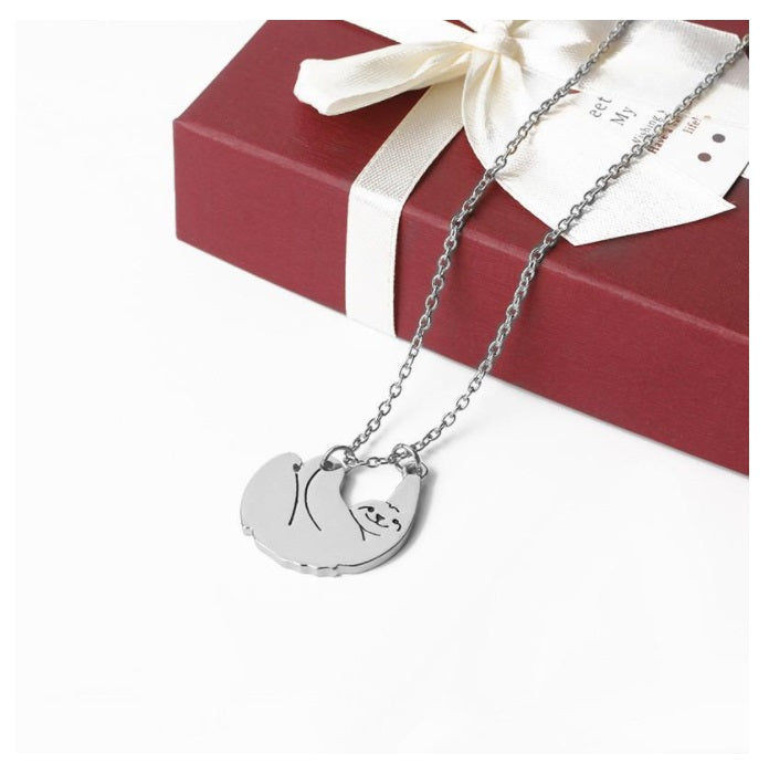 18K Silver Plated Sloth Animal Pendant Necklace