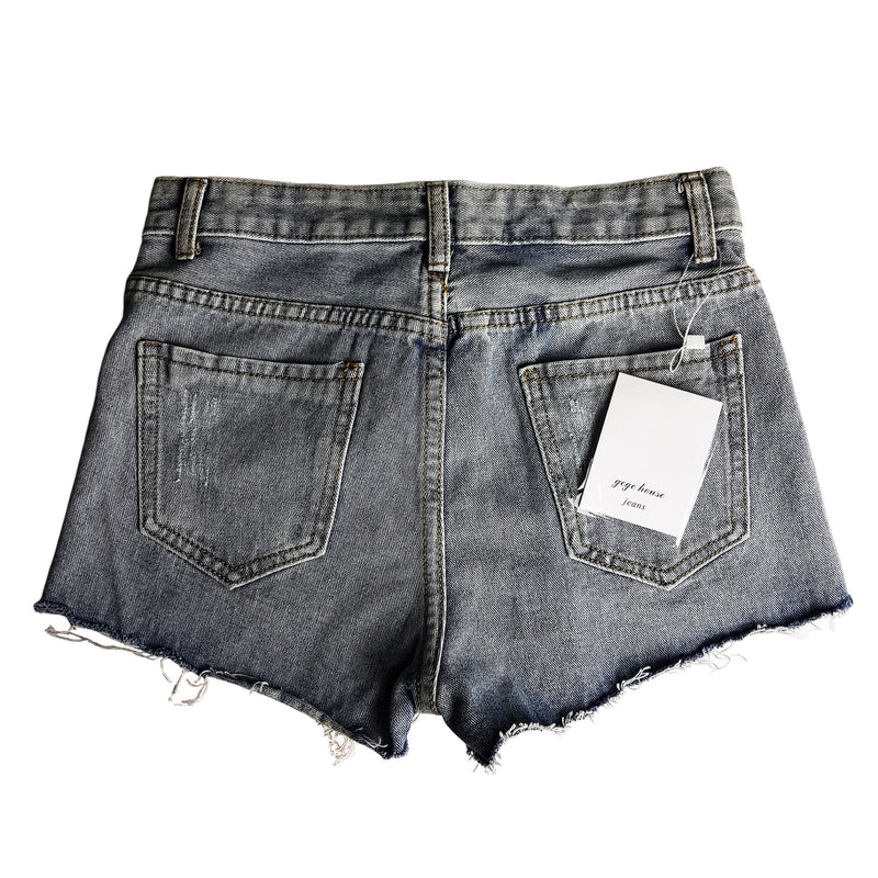GEGE HOUSE Blue Distressed Light Wash Women's Mini Shorts - 1000 Things Australia