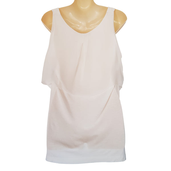 WITCHERY White Ruffled Sleeveless Women's Tank Top - 1000 Things Australia