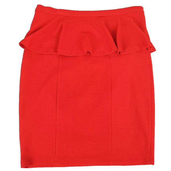 FRENCH CONNECTION Women's Red Ruffle Peplum Knee-Length Skirt Ladies Workwear