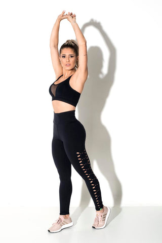 Flower Laser-Cut Leggings