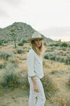 Ashley Turner agnes button up ethical fashion silk raw silk button up minimalist california made made in los angeles shop local shop small wide brim hat white pants slip dress silk noil