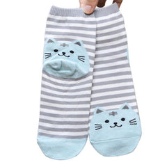Cute 3D Cat Striped Cartoon Socks Women Cotton Socks Low Cut Ankle Socks