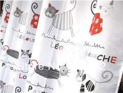 Cat Cartoon Shower Curtain Polyester Cloth