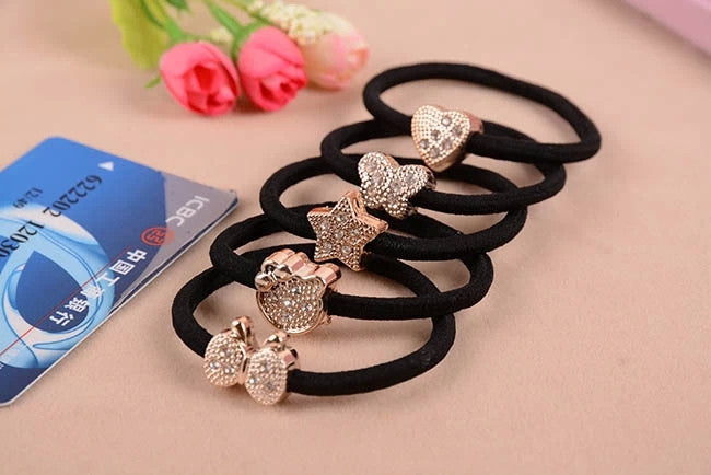 Cat Star Butterfly Black Elastic Ponytail Holders