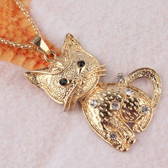 Gold Crystal Cat Pendant