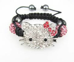 Children Kids Crystal Disco Ball Cat Bracelet
