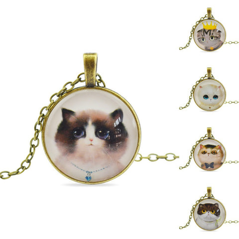 Cat Glass Cabochon Pendant Necklace