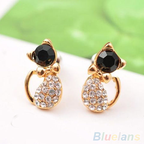 Elegant Women's Cute Cat Crystal Rhinestones Alloy Ear Studs Earrings Jewelry