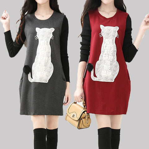 New style 3 colors cat print women dresses for autumn spring and winter