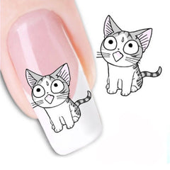 3D Black Grey Cute Cat Nail Art Sticker