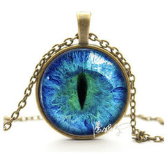 Blue Green Cat Eye Necklace Pendant
