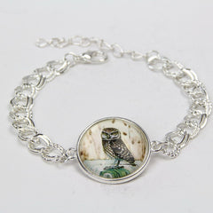 Cute Cat Horse Owl Glass Cabochon Bracelet