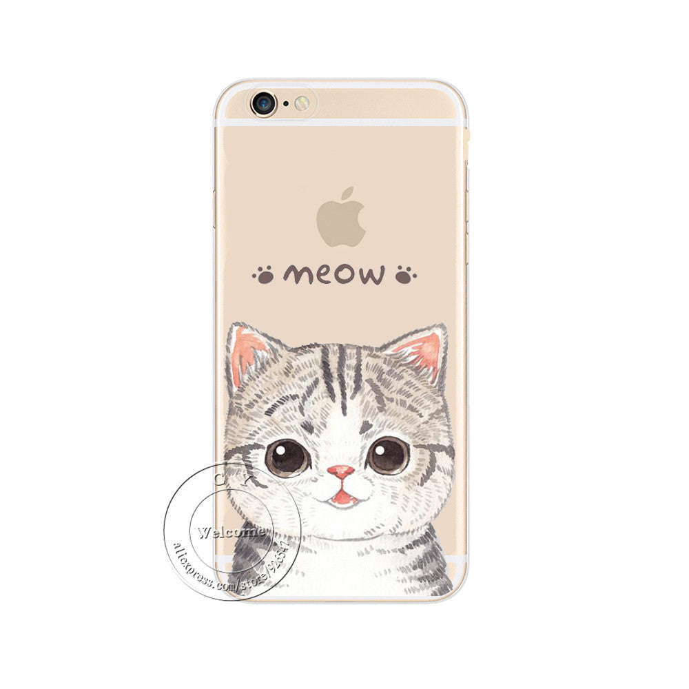 Cat Hard Plastic Case Cover For Apple iPhone 4 4S 5 5S 5C 6 6S 6 Plus 6SPlus SE