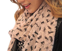 Soft Chiffon Colorful Sweet Cartoon Cat Kitten Scarf