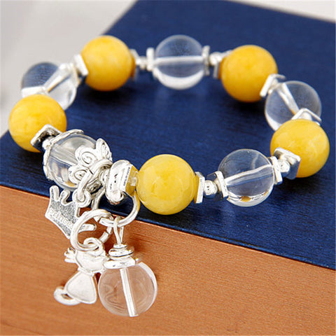 6 Colors Sweet Crystal Beads Bracelets & Bangles Crown Cat Pendant