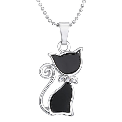 Rhinestone Crystal Cat Necklaces Pendants