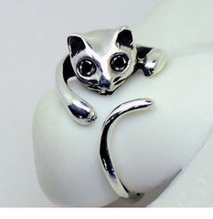 Cute Silver Cat Shaped Ring With Rhinestone Eyes, Adjustable and Resizeable