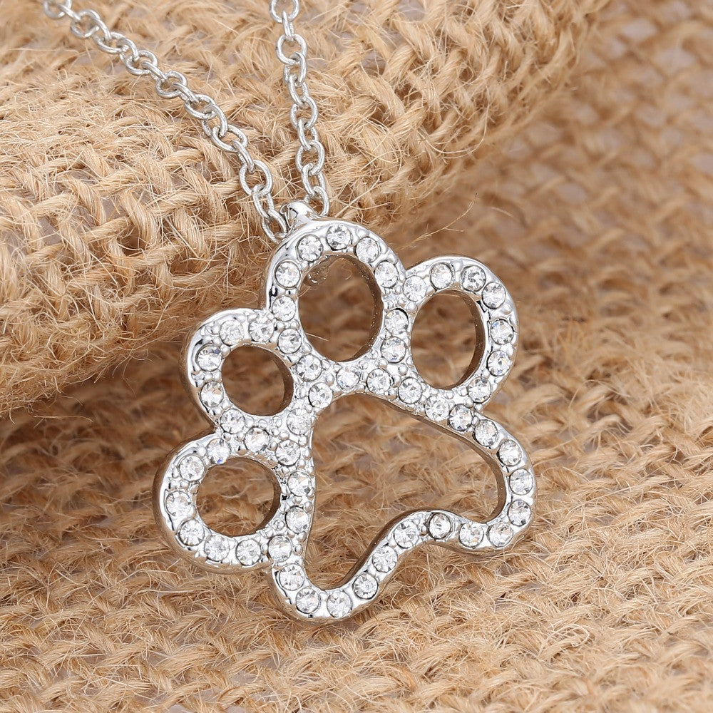 Silver plated black and white crystal rhinestone dog paw pendant silver plated black and white crystal rhinestone dog paw pendant necklace mozeypictures Images