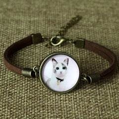Glass Galaxy Cat Leather Bracelet