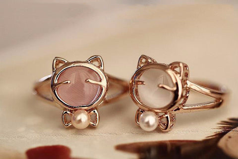 Rose Gold Plated Cute Cat Ring  Made with Genuine Austrian Crystals