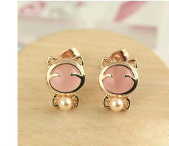 Gold Plated Cat Stud Earring