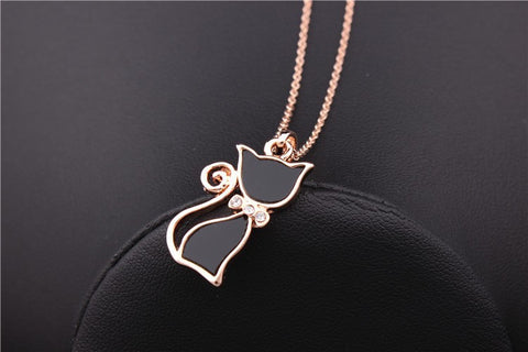 Rose Gold Plated Rhinestone Black Cat Pendant