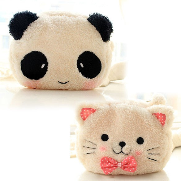 Cat Panda Shape Soft Plush Cosmetic Make-up Bag Pouch