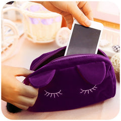 Cat Cosmetic Make-up Bag Case Organizer Zipper Handbag