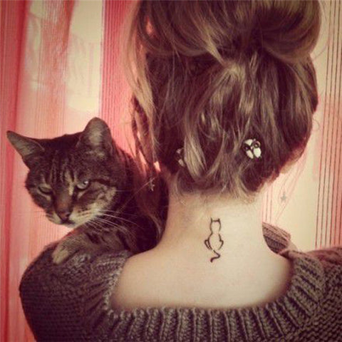 Cat Design Tattoo Sticker for Art Arm Neck