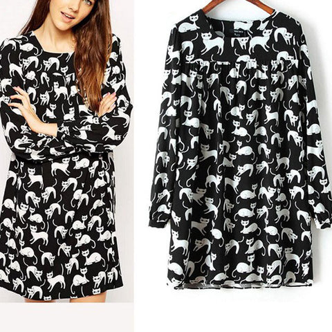 Elegant Long Sleeve Cat Dress