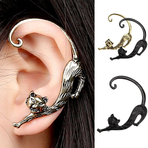 Gothic Punk Cat Bite Ear Cuff Wrap Clip Earring