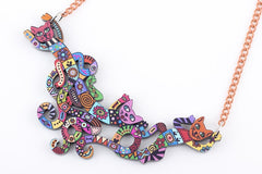 Cat Multicolour Necklace Girl Woman Fashion Jewellery