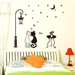 Cat Couple Street Lamp Moon Night Wall Stickers