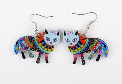 Long Dangle Cat Earrings