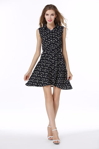 Cat Footprints Pattern  Women Shirts Dress With Belt