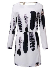 Women Cat Tail Print Vestidos Long Sleeve Backless Dress