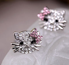 Crystal Kitty Ring,Earring and Necklace Set
