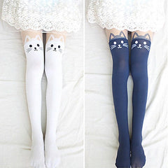 Cat Head Knee Socks