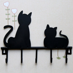 Cat Design Metal Wall Hooks Robe Hanger