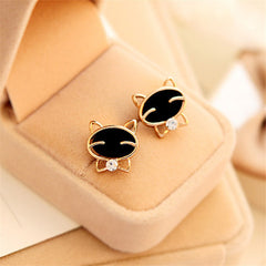 Cute Black Cat Smiley Upscale Exquisite Earrings