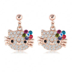 18K Rose Gold Plate Austrian Crystal Kitten Earings