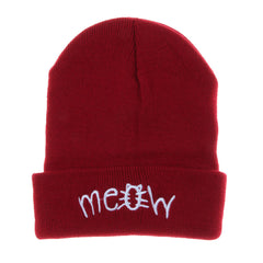 Female Winter Knitting MEOW Warm Beanie