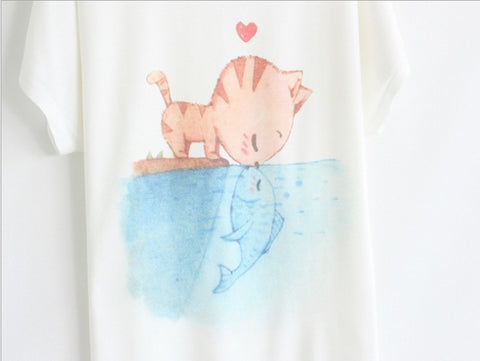 Spring and Summer Sleeve Women's T-shirt Cat Kiss Fish Print Top Tees