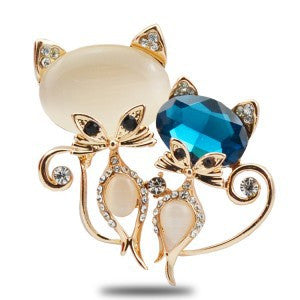 Vintage Women Cat Jewellery Crystal Brooch