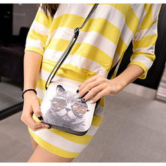 Cat Wearing Big Glasses Shoulder Handbags