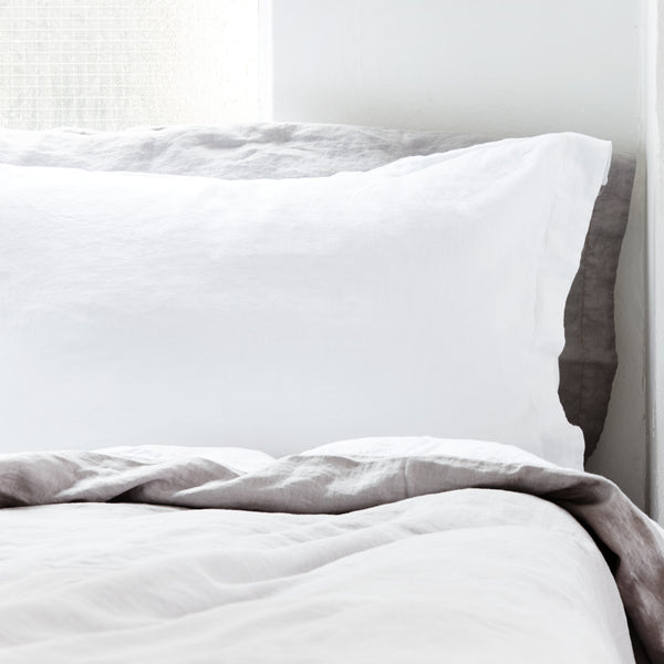 French Linen Pillowcases in Fresh White