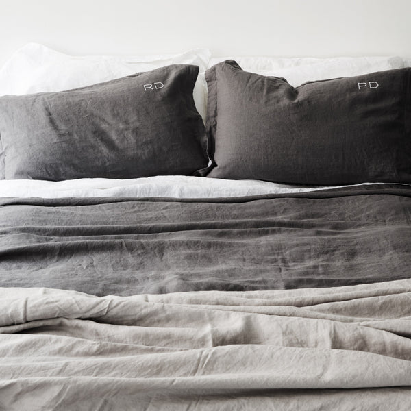 French Linen Pillowcases in Charcoal
