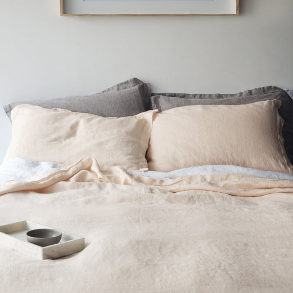 French Linen Duvet Cover in Just Peach